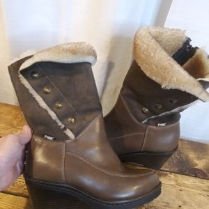 Pajar Canada Brown leather/Suede Sherling Fur Boot
